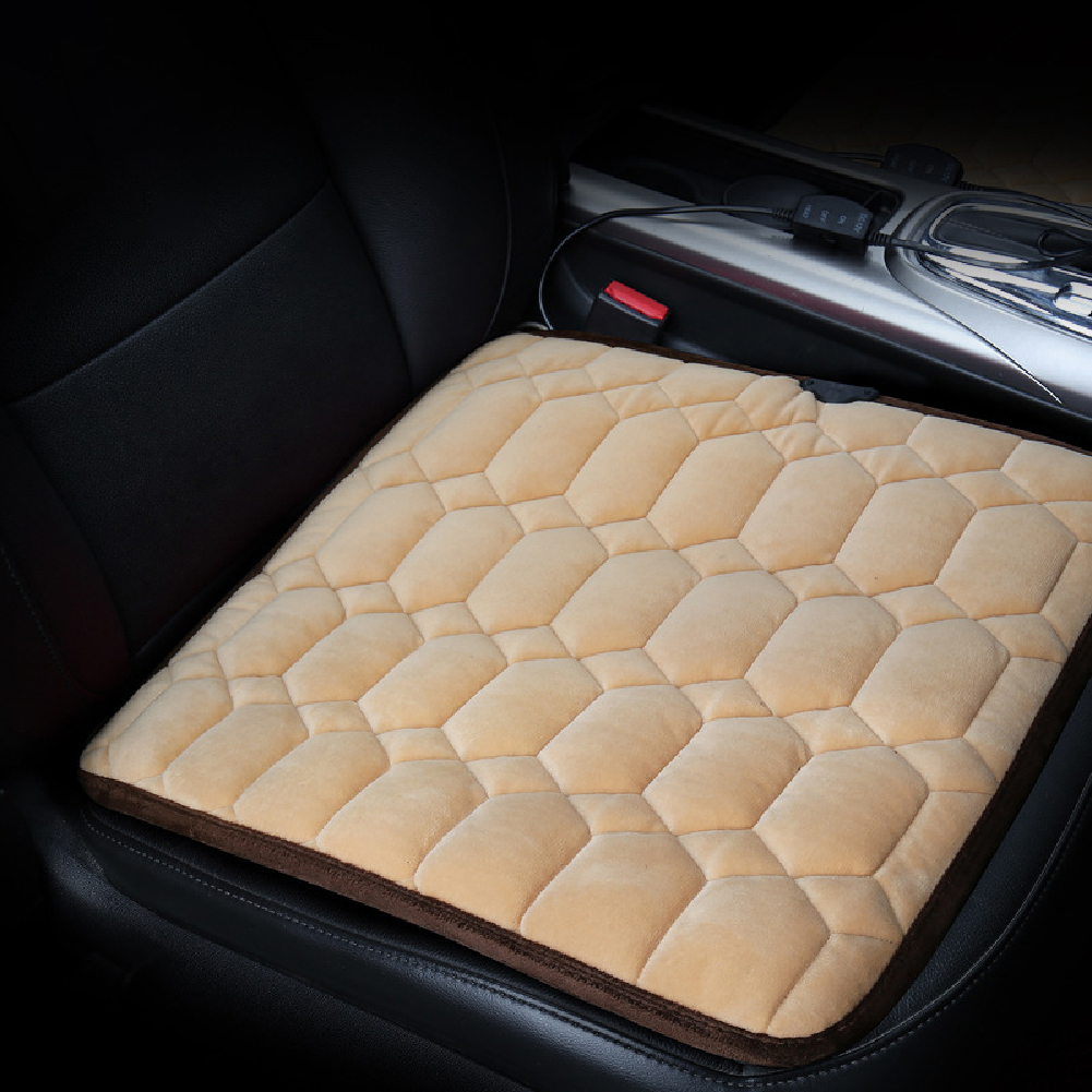 50*53CM 12V Car Seat Heater Plush Electric Heated Seats Interior Accessories Rhombus Beige