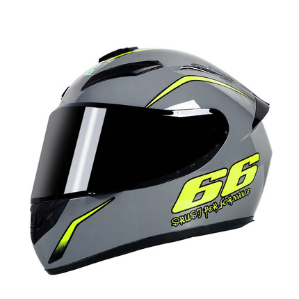 Motorcycle Helmet cool Modular Moto Helmet With Inner Sun Visor Safety Double Lens Racing Full Face the Helmet Moto Helmet Knight Cement Grey 66_XXL