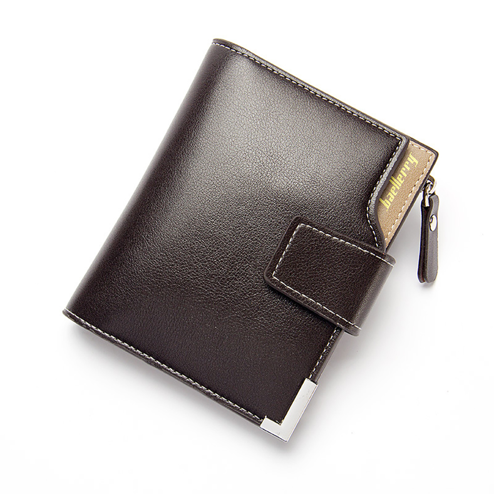 Men's Multifunction Purse Soft PU Leather Short Triflod Wallet Hasp Zipper Multi-card Holder Cash Organizer