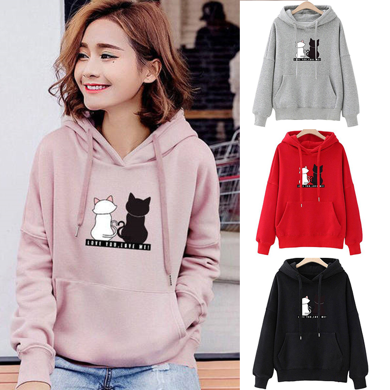 Women Fashion Loose Hooded Sweatshirt XL