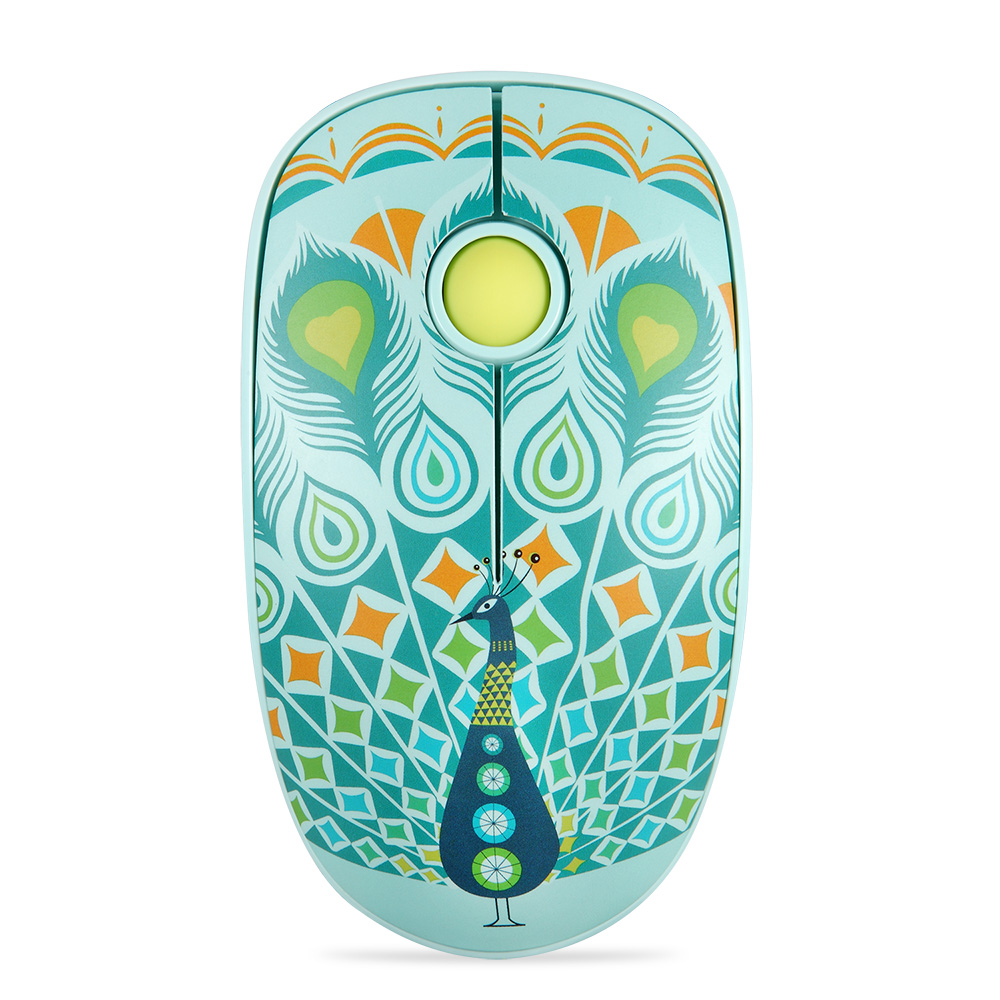 Rechargeable Computer Mouse Cartoon Animal Pattern Ultra-thin Silent Notebook Office Wireless Mouse Peacock