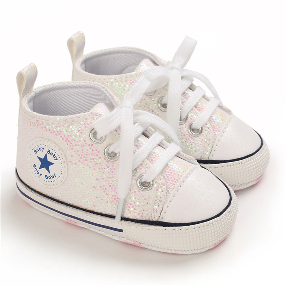 Baby Shoes Soft-soled with Sequin Toddler Shoes for 0-18m Babies Off-white_Bottom length 13CM