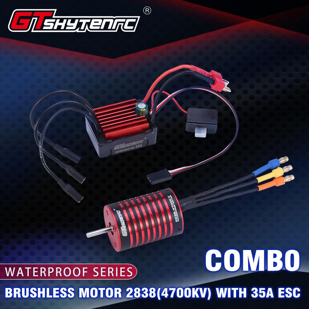 GTSKYTENRC Combo 2838 3700KV 4700KV Brushless Motor w/ 35A ESC for Traxxas HSP Tamiya Axial 1/16 1/12 RC Car 4700KV+35A