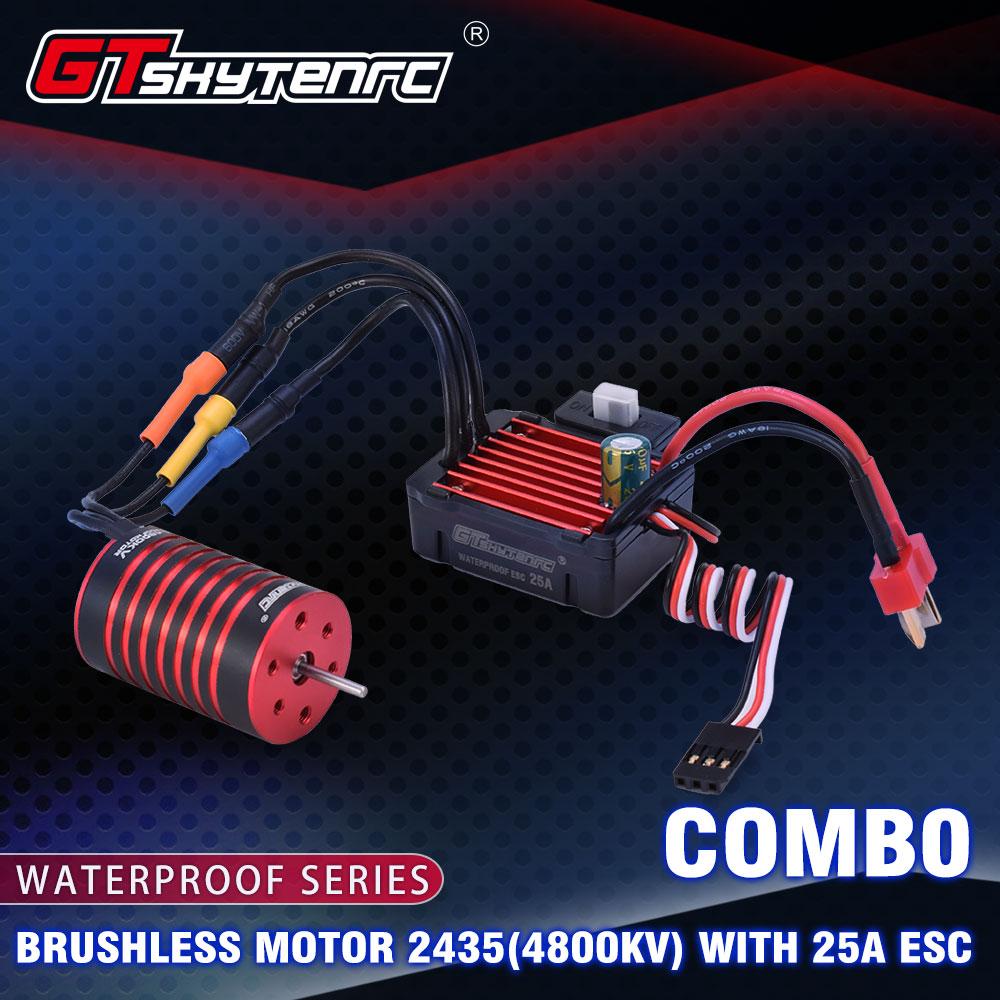 GTSKYTENRC Combo 2435 4500KV 4800KV  Brushless Motor w/ 25A ESC for 1:16 1:18 RC Buggy Drift Racing Car 4800KV+25A