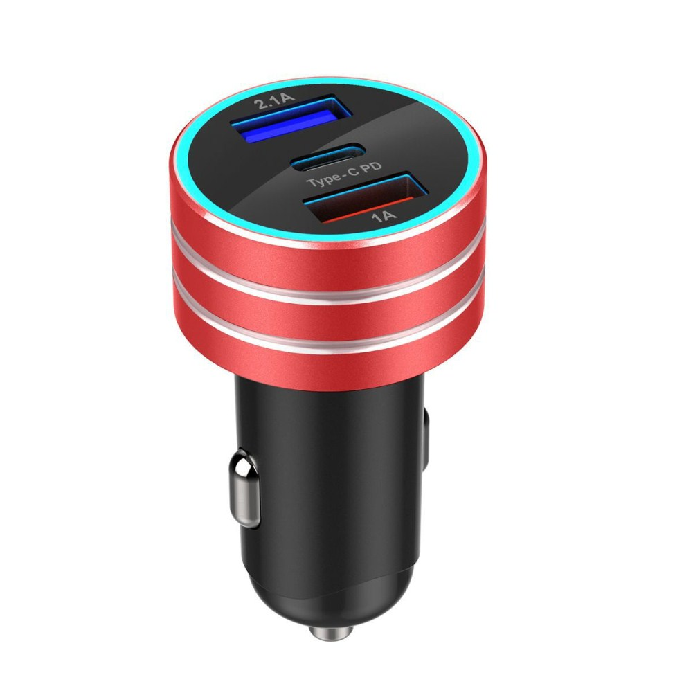 3.1A Dual USB Vehicle Charger TYPE-C Charge Interface Fast Car Charger red