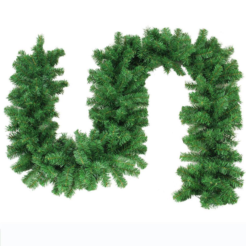 2.7M 160 Heads Green Rattan Christmas Garland Fireplace Wreath Hanging Pendant for Door Wedding Festival Decoration  green