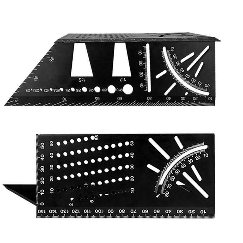 Multi-functional 45/90 Degree Angle  Ruler Precisie Woodworking Square Ruler Scribing Gauge Black