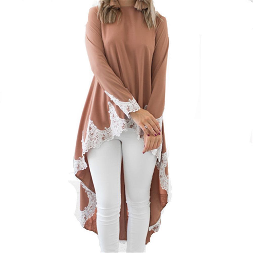 Women High Waist Irregular Long-sleeve Dress Fashion Lace Loose Dress