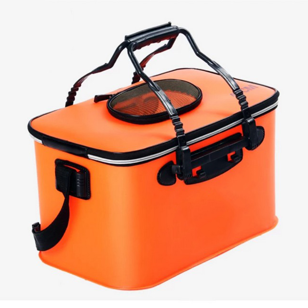 Portable EVA Folding Bucket Water Tank Fish Storage Box for Live Fish Orange 40cm (with strap )