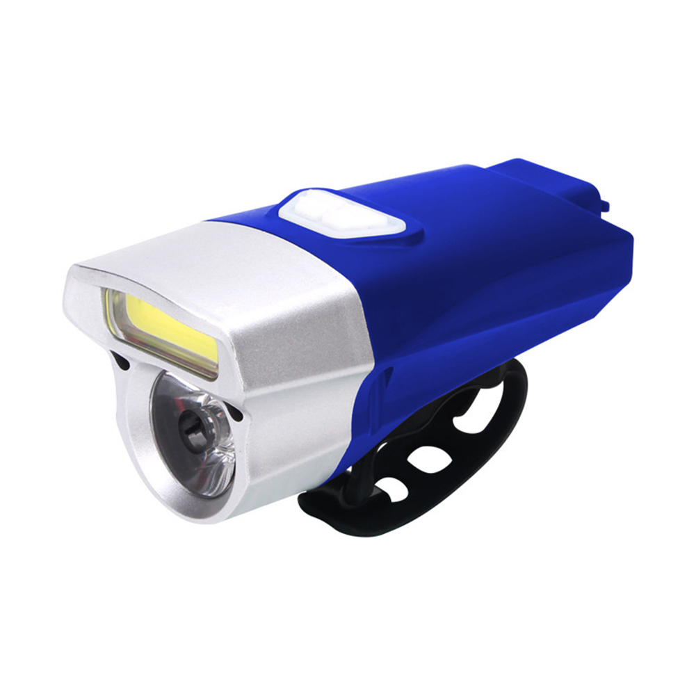 Waterproof COB USB Rechargeable LED Cycling MTB Bike Bicycle Head Light Tortch Lamp blue silver head 112g