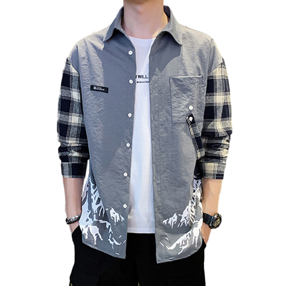 Men Plaid Printing Shirt Long Sleeve Autumn Teenagers Loose Blouse gray_2XL