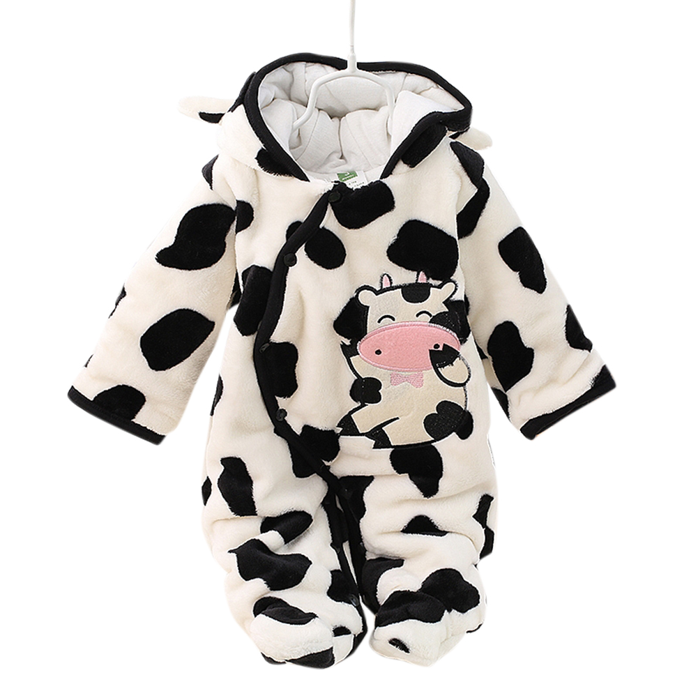 Boys Girls Baby Long-sleeved Thicken Hooded Soft Cotton Romper Cute Cartoon Jumpsuits white_80cm 12M