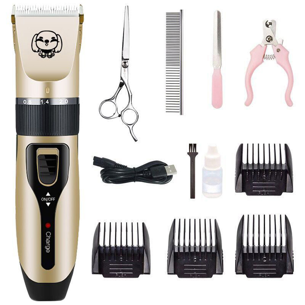 Rechargeable Hair Clippers Pet Dog Electric Pet Grooming Tool 4PCS of C200 plus steel shears
