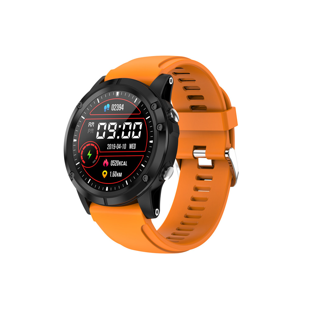T5 Smart Bracelet Blood Pressure Measurement Waterproof Fitness Tracker Heart Rate Monitor Pedometer Band Black orange