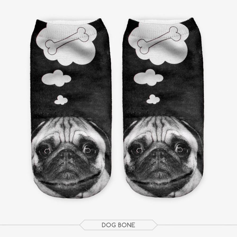 Fashion Dog Bone Pattern Printing Soft Short Ankle Socks black_One size