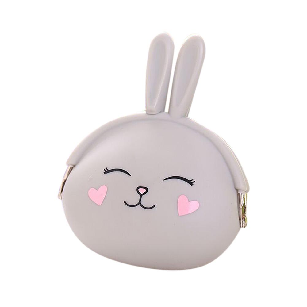 Fashion Cute Cartoon Rabbit Design Coin Purse Zipper Silicone Wallet Small Key Card Bag  gray