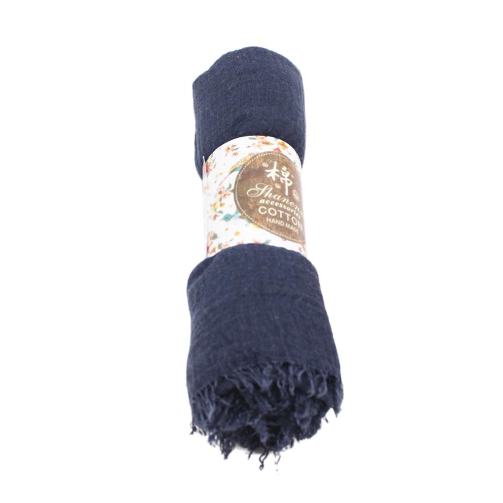 Fashion Elegant Women Breathable Long Colorful Soft Cotton Scarf Wrap Shawl Scarves Sunscreen Beach Towel navy blue_180cm
