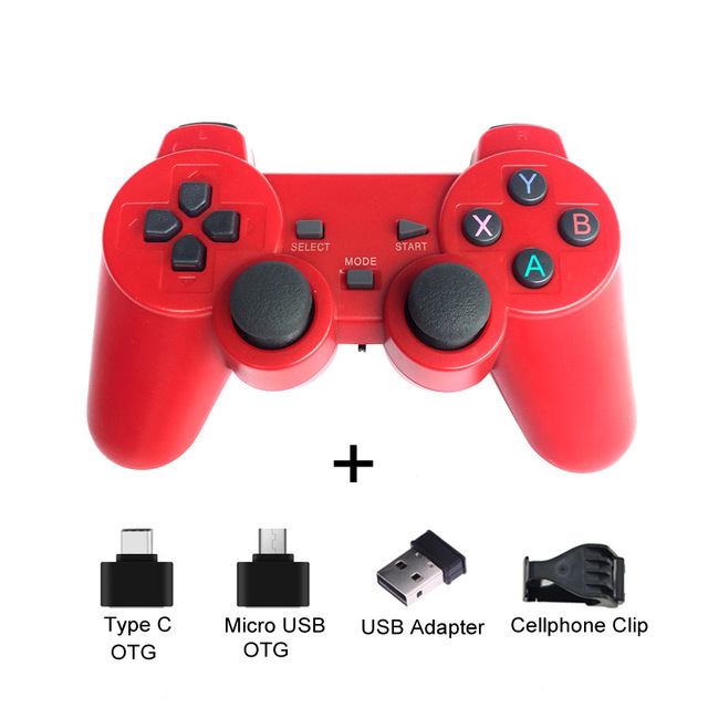 2.4G Wireless Gamepad Joystick Remote Controller for PS3 Android Phone TV Box Laptops PC red