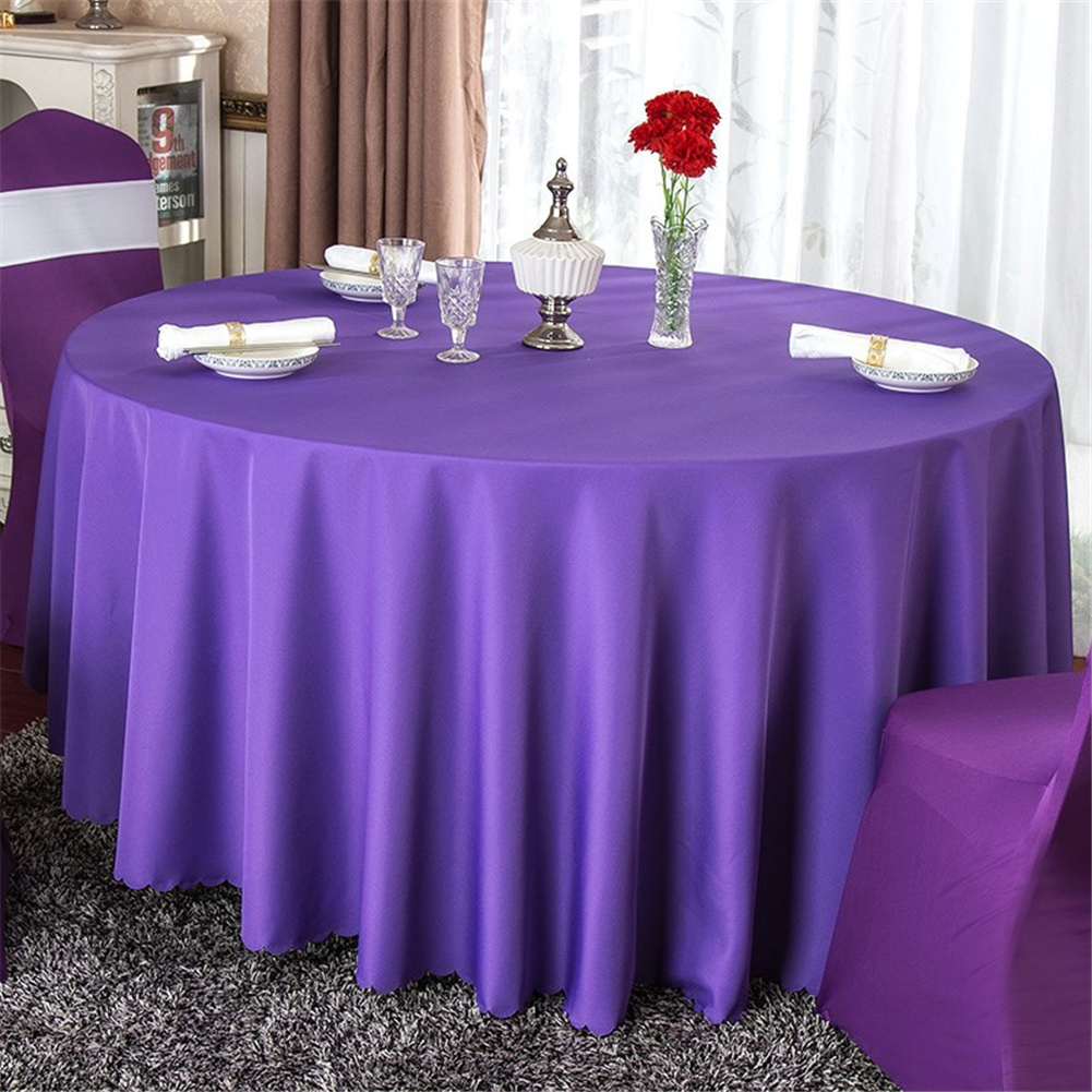 140cm Solid Table Cloth Round Satin Tablecloth Wedding Party Restaurant Home Table Cover  Deep purple_Round 140cm