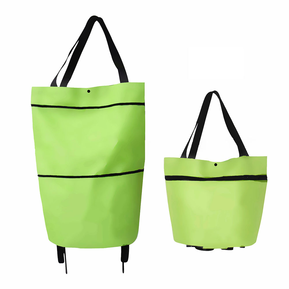 Folding Shopping Bags Trolley Grocery Shopper Lightweight Foldable with wheels green