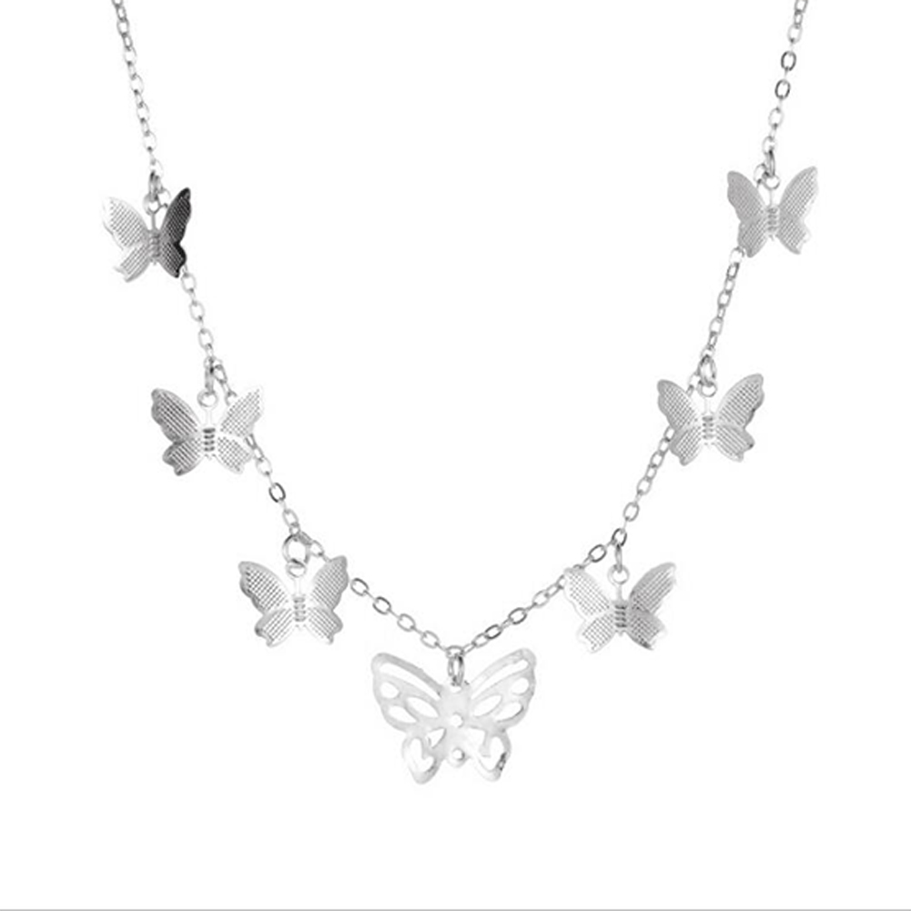 Women's Simple Personality Hollow Butterfly Necklace Fashion Multi-Layer Pendant Clavicle Chain 02 silver 5494