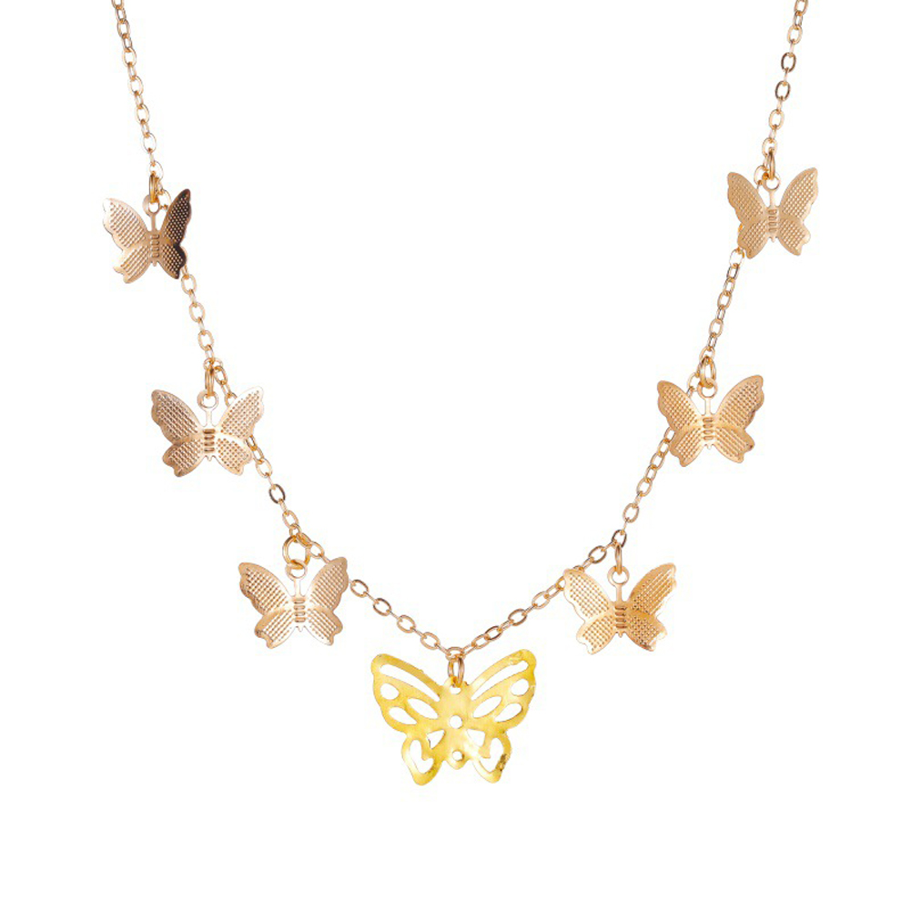 Women's Simple Personality Hollow Butterfly Necklace Fashion Multi-Layer Pendant Clavicle Chain 01 gold 5493