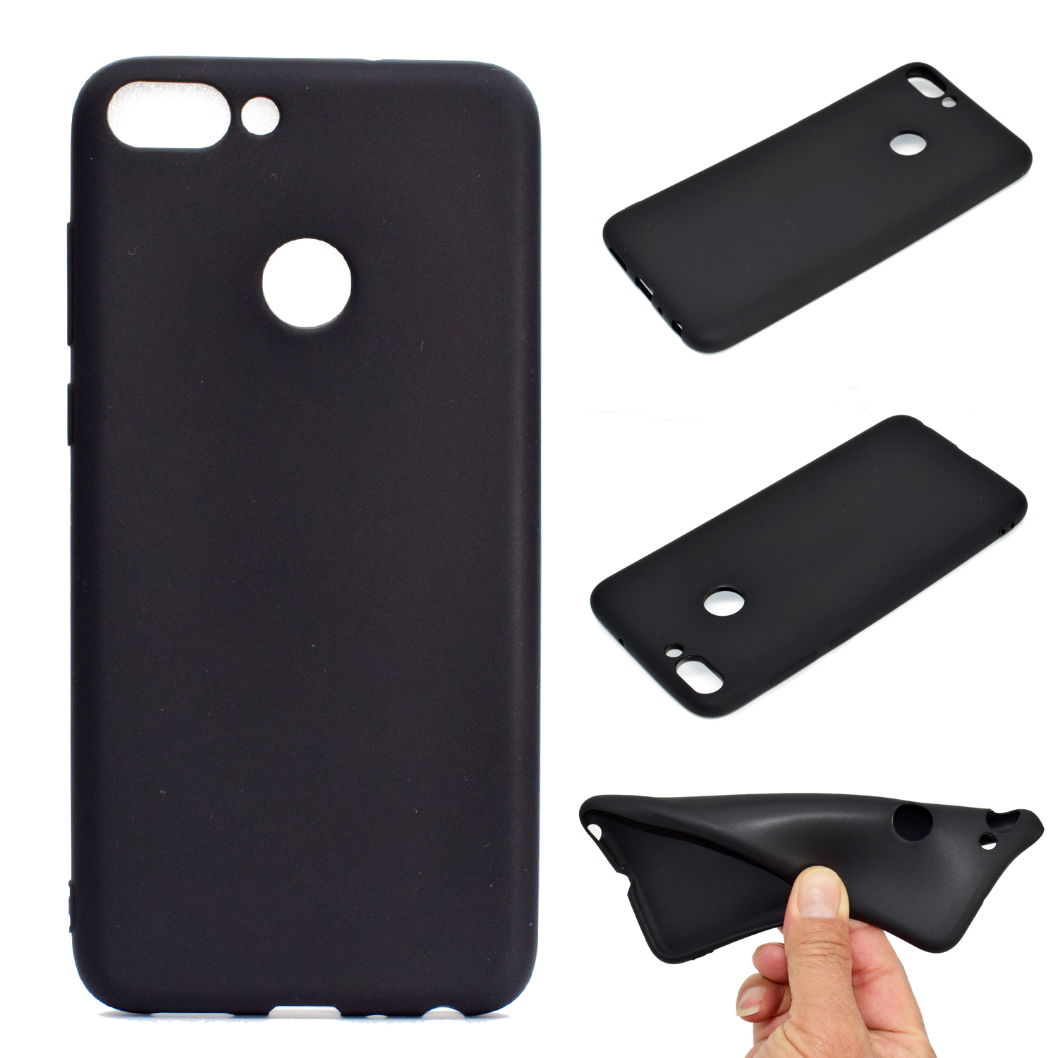 for HUAWEI Honor 9 lite Cute Candy Color Matte TPU Anti-scratch Non-slip Protective Cover Back Case black