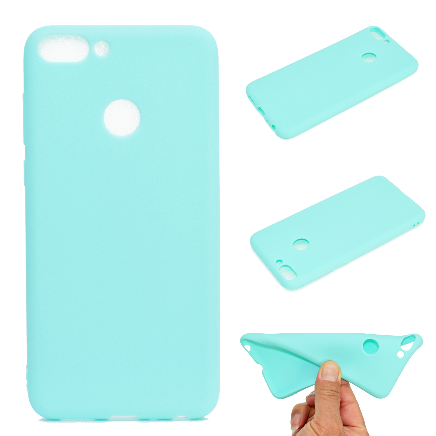 for HUAWEI Honor 9 lite Cute Candy Color Matte TPU Anti-scratch Non-slip Protective Cover Back Case Light blue