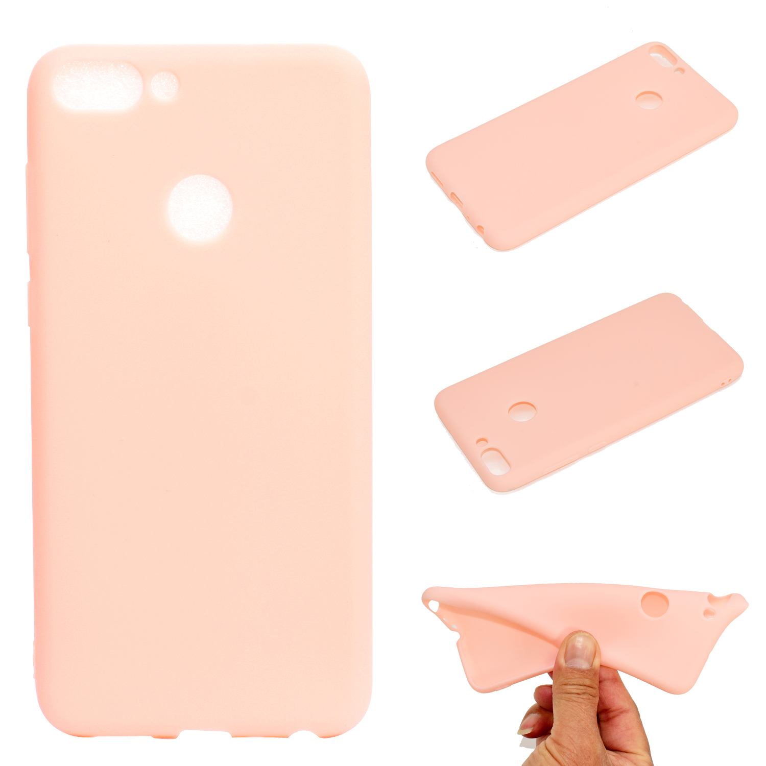 for HUAWEI Honor 9 lite Cute Candy Color Matte TPU Anti-scratch Non-slip Protective Cover Back Case Light pink