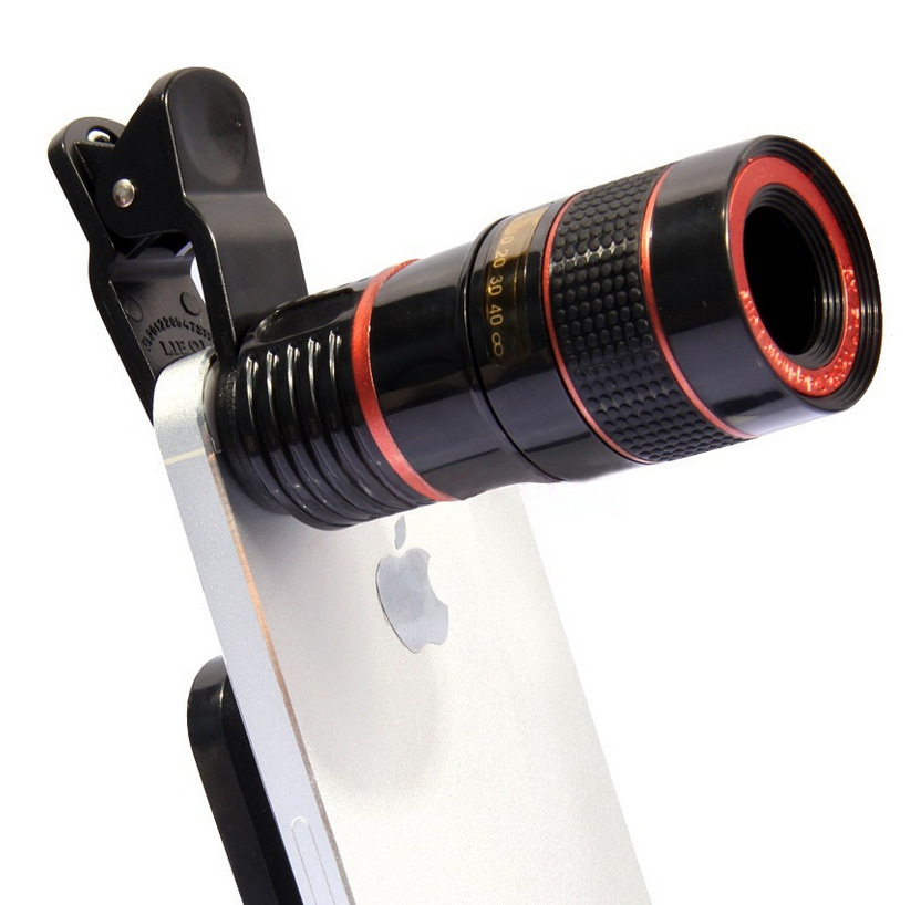 Universal Clip-on 8X Optical Zoom HD Monocular Telescope Camera Lens For Mobilephone Tablet Black