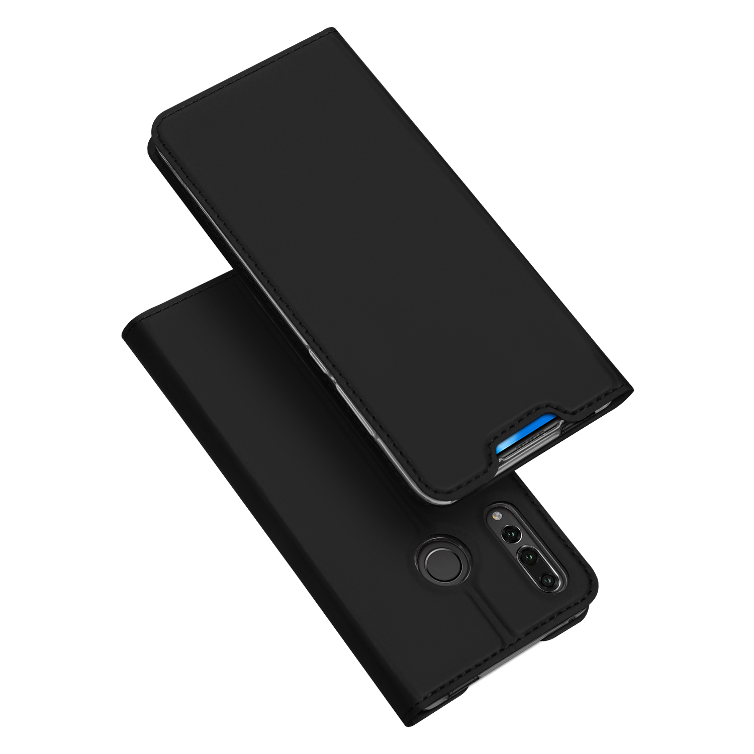 DUX DUCIS for HUAWEI Y9 Prime 2019 Solid Color Magnetic Attraction Leather Protective Phone Case with Card Slot Bracket black