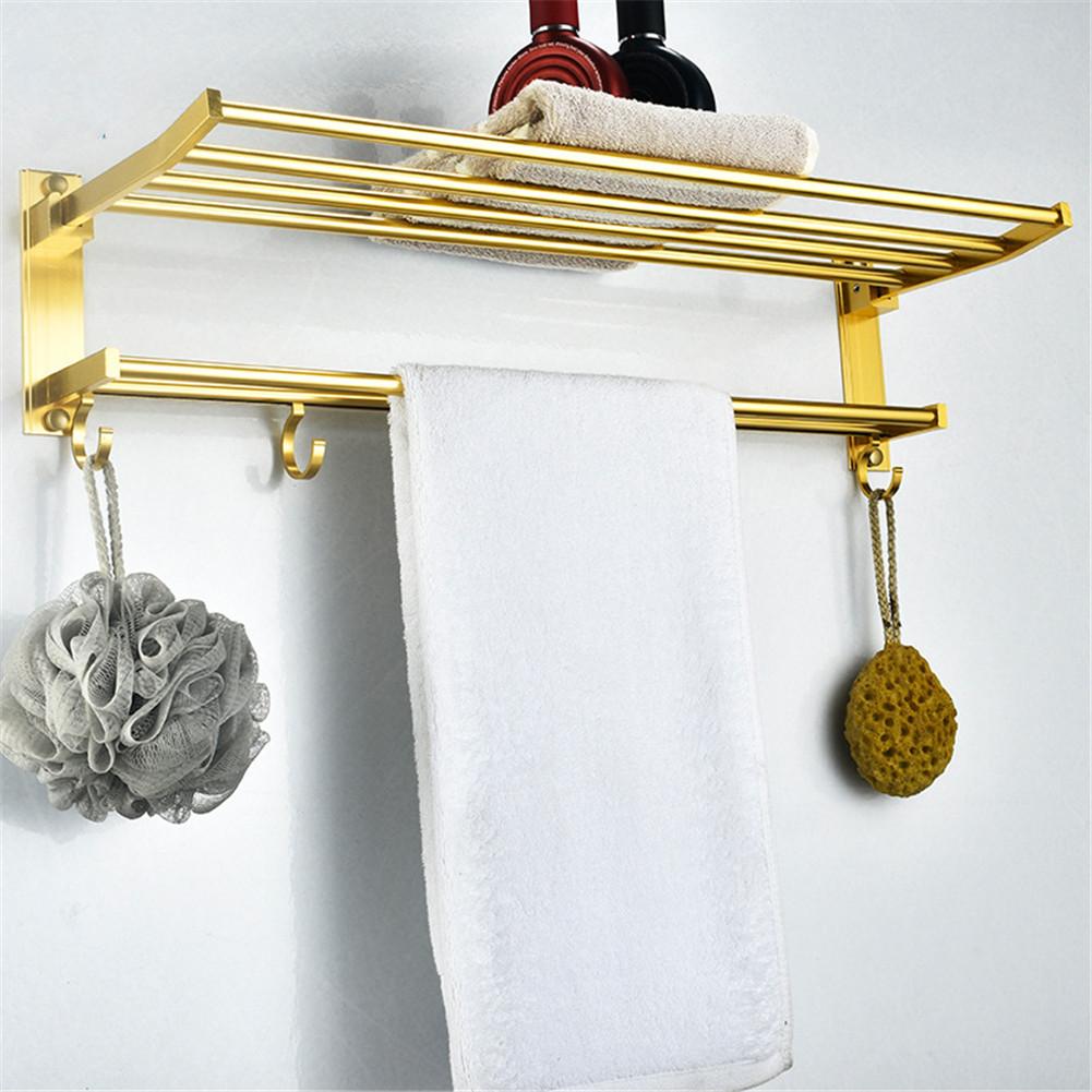 2-tier Bathroom Towel  Rack Holder Wall  Mount Hotel Toilet Shower  Organizer Golden_60cm