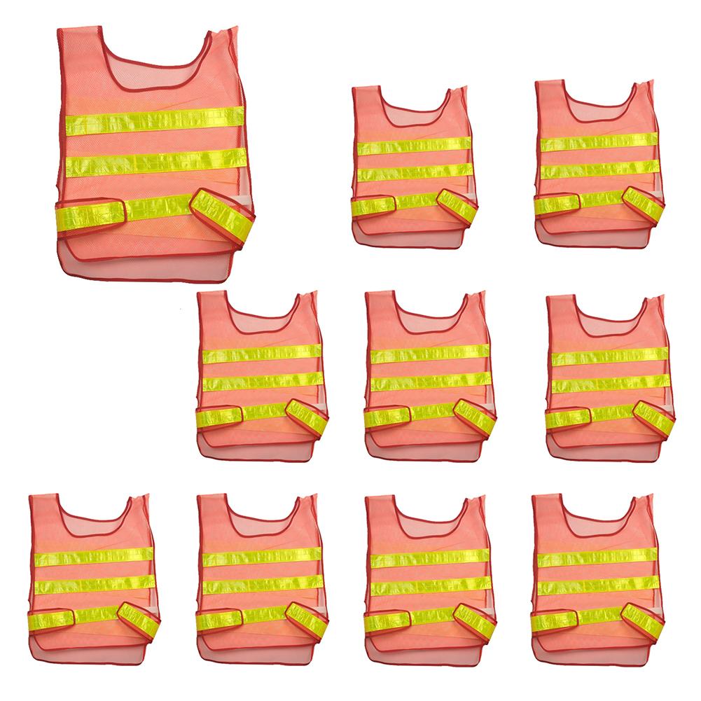 10pcs Outdoor Reflective High Visibility Safety Vests Construction Safety Vest Orange
