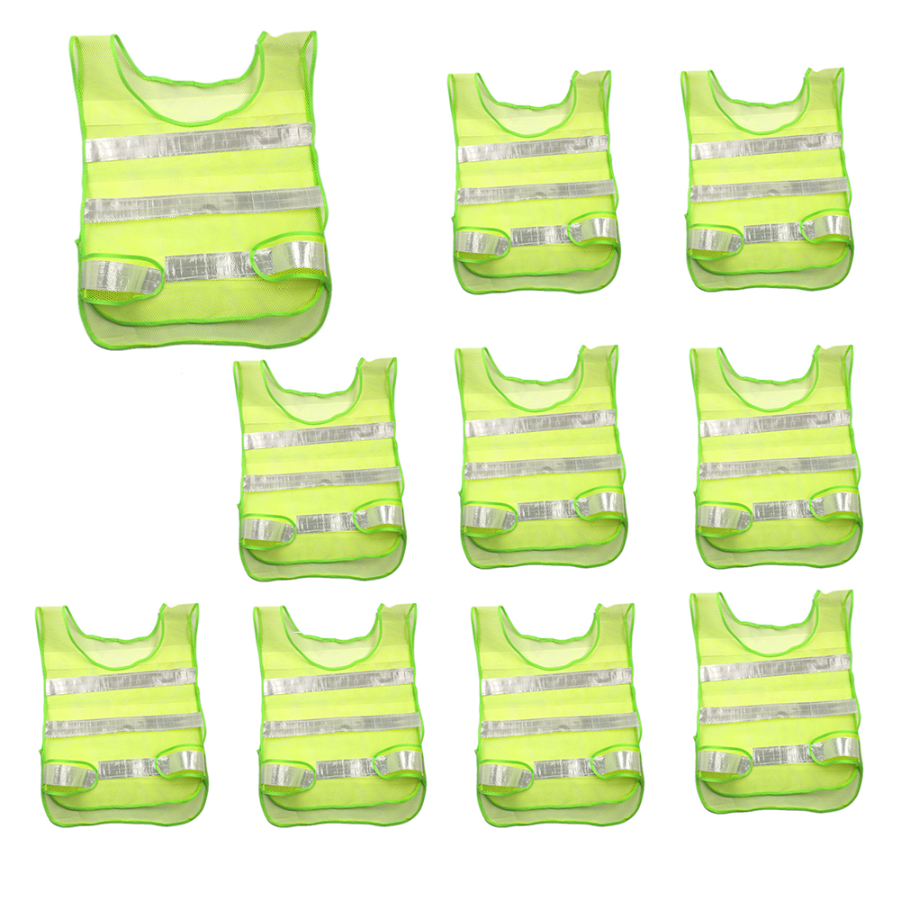 10pcs Outdoor Reflective High Visibility Safety Vests Construction Safety Vest Yellow-green