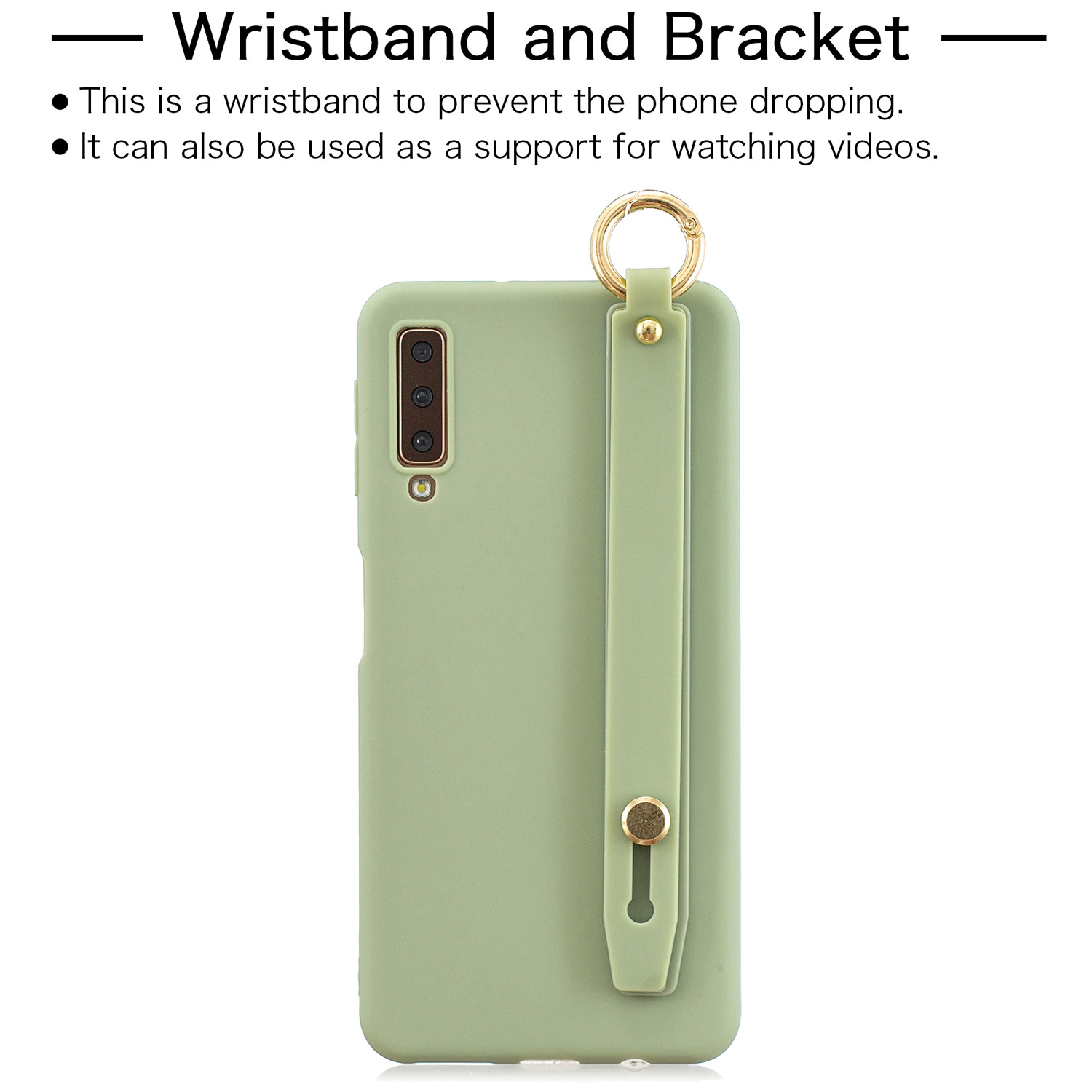 For Samsung A7 2018 Simple Solid Color Chic Wrist Rope Bracket Matte TPU Anti-scratch Non-slip Protective Cover Back Case 10 beans green