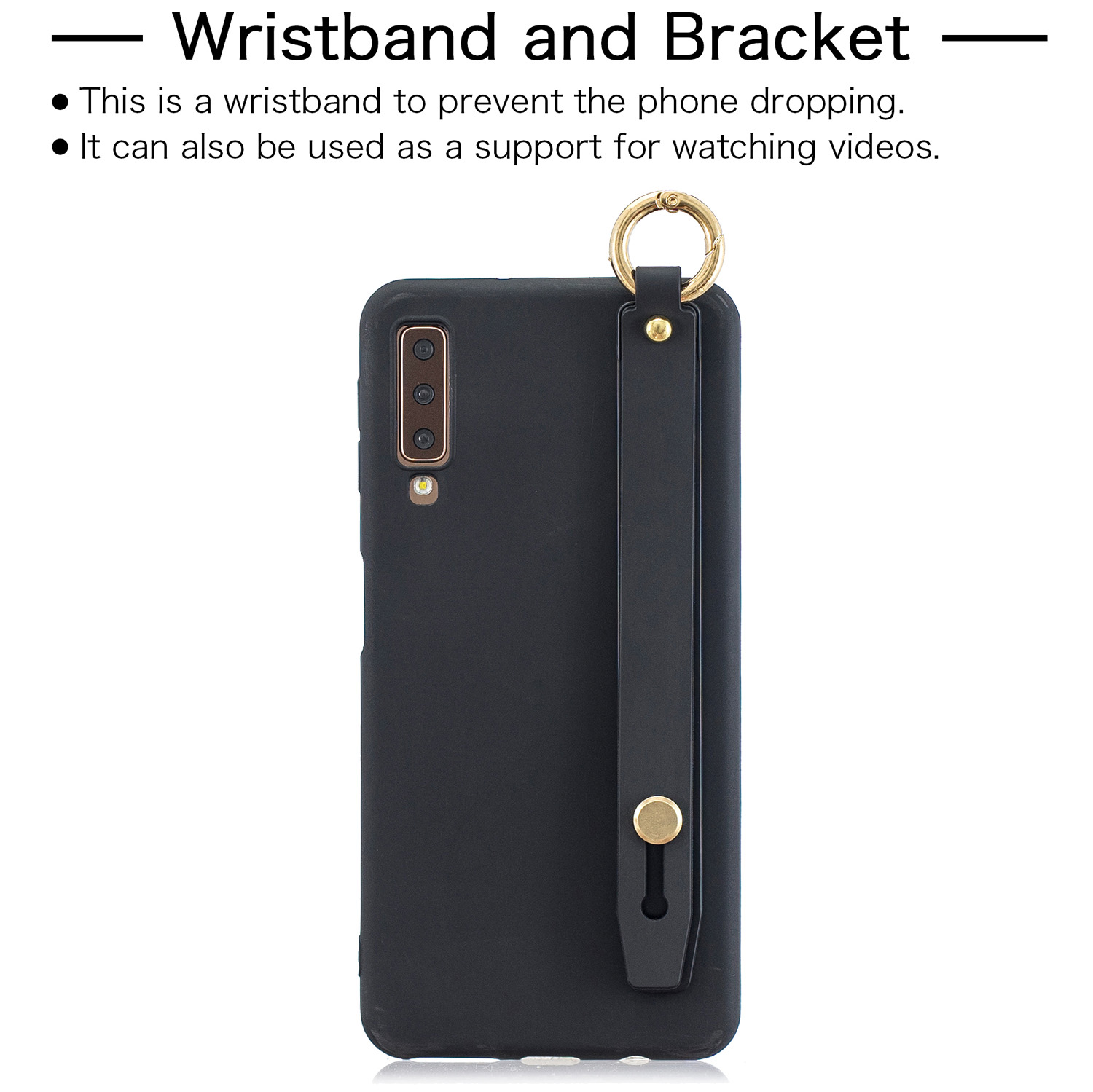 For Samsung A7 2018 Simple Solid Color Chic Wrist Rope Bracket Matte TPU Anti-scratch Non-slip Protective Cover Back Case 1 black