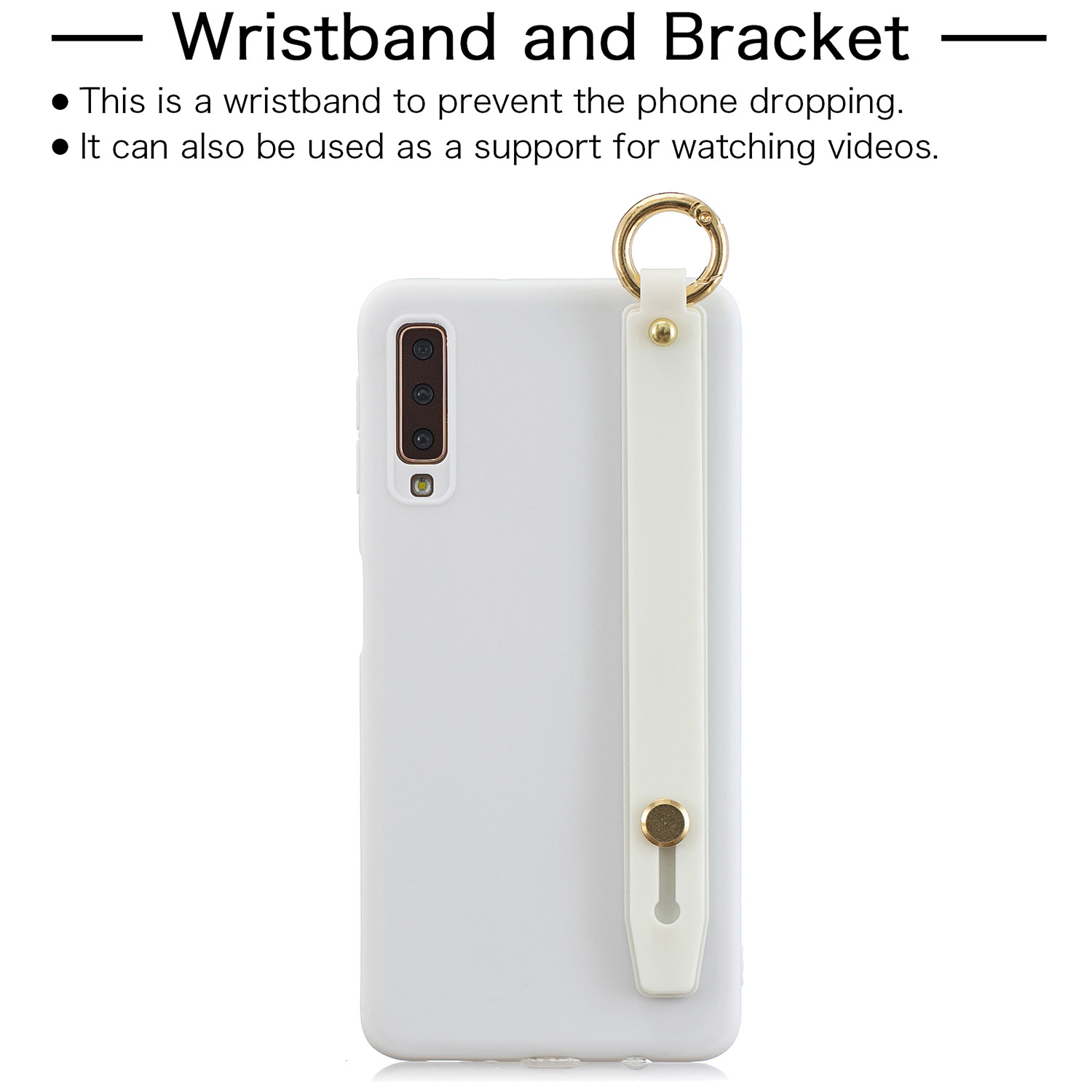 For Samsung A7 2018 Simple Solid Color Chic Wrist Rope Bracket Matte TPU Anti-scratch Non-slip Protective Cover Back Case 2 white