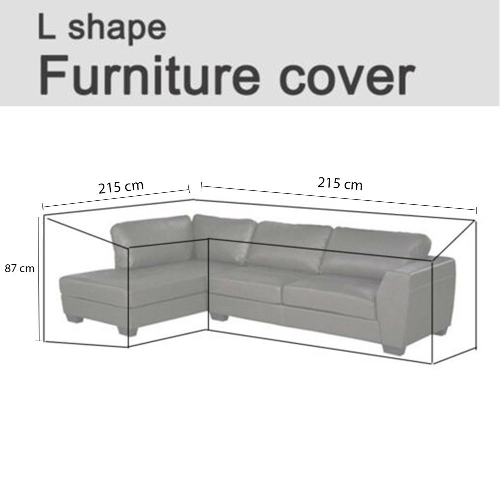 Outdoor Waterproof Courtyard Furniture Cover L-shaped Corner Sofa Cover 210D Black L shape: 215*215*87cm