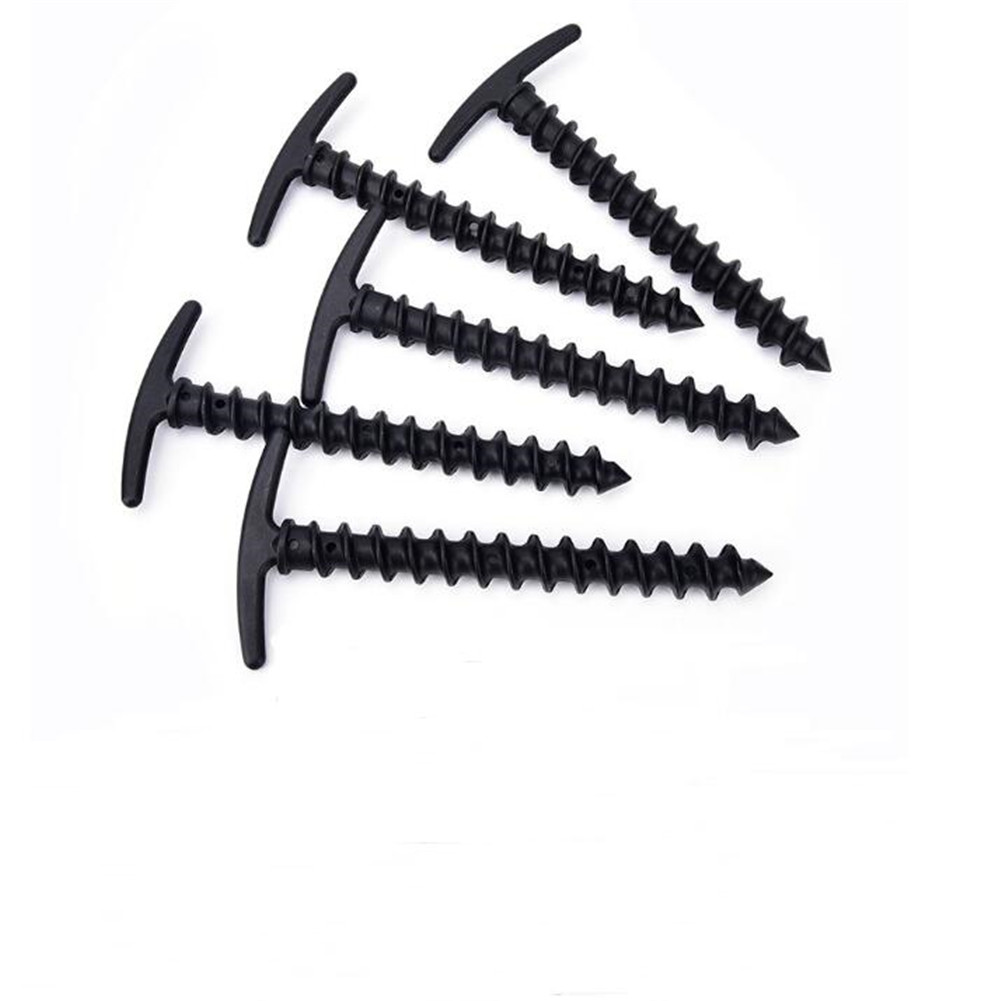 5pcs 14.5cm Portable Plastic Screw Spiral Tent Peg Stakes Nail Outdoor Camping Awning Trip Kit black