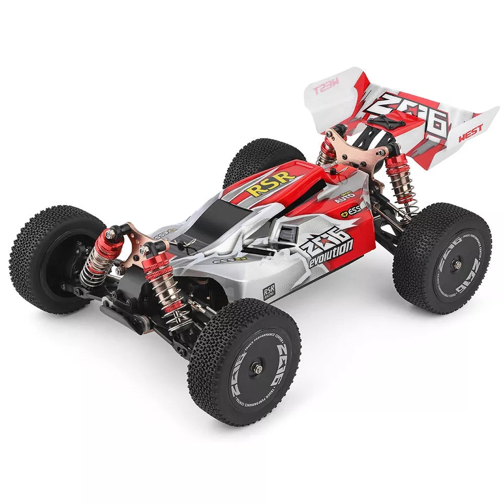 WLtoys 144001 RTR 2.4GHz RC 1/14 Scale Drift Racing Car 4WD Metal Chassis Shaft Ball Bearing Gear Hydraulic Shock Absober red with three batteries