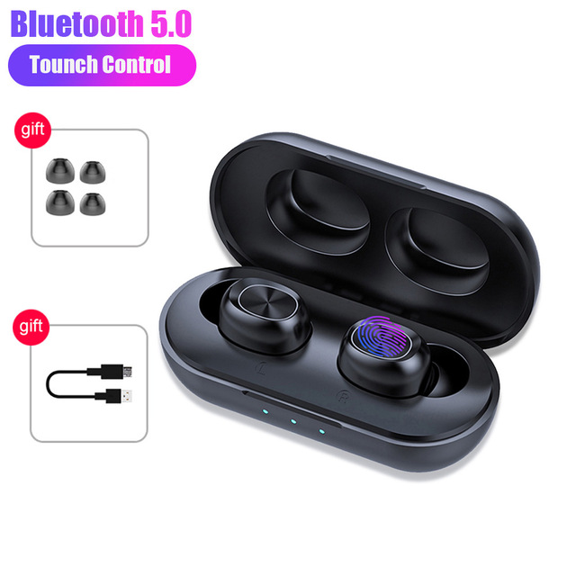 B5 TWS Bluetooth Earphone Wireless Headset HiFi Stereo Noise Cancelling Gaming Headphones With Microphones black