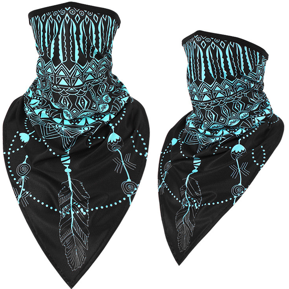 Outdoor Cycling Triangle Scarf Ice Silk Enlarged Face and Neck Sunscreen Mask  Blue phoenix tail_Quick-drying triangle