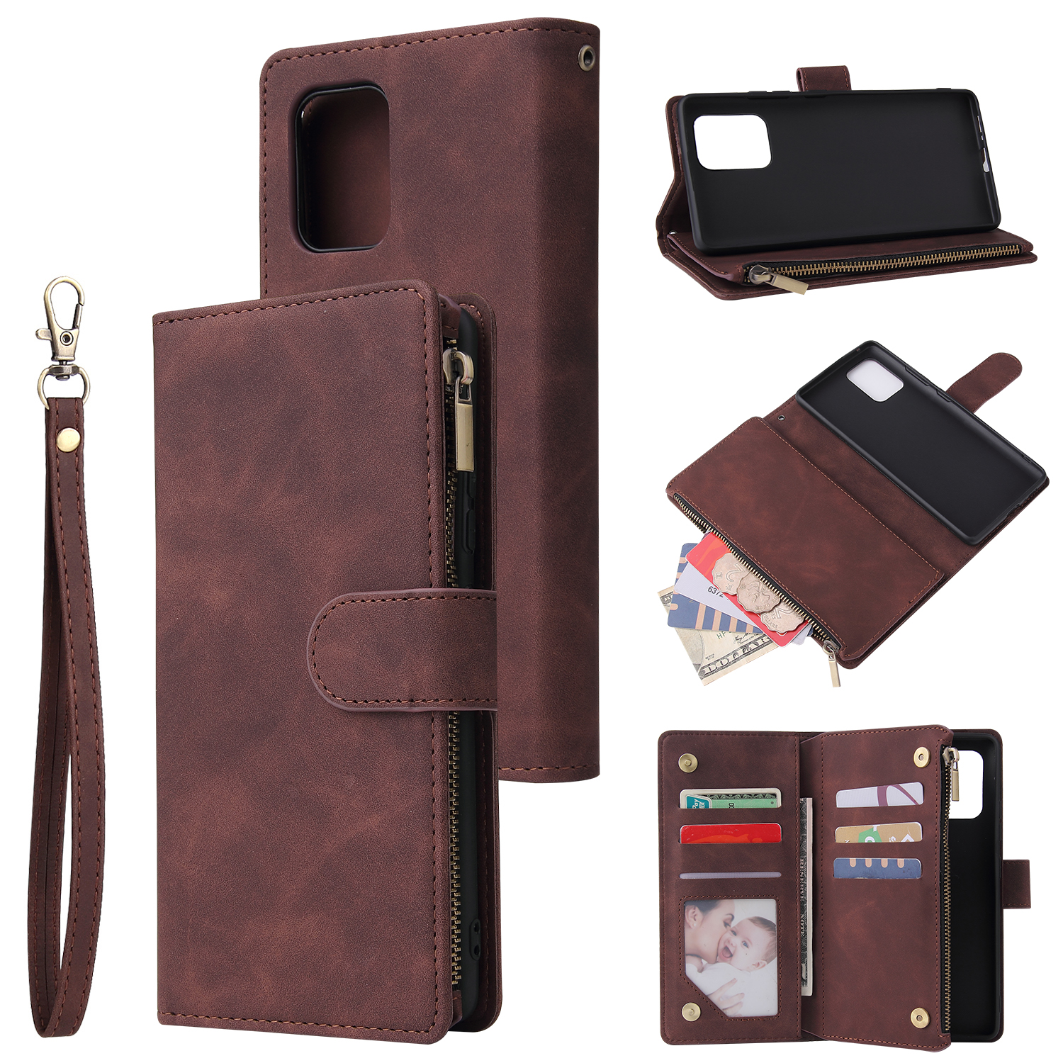 For Samsung S10 Lite 2020 Mobile Phone Case Wallet Design Zipper Closure Overall Protection Cellphone Cover  3 brown