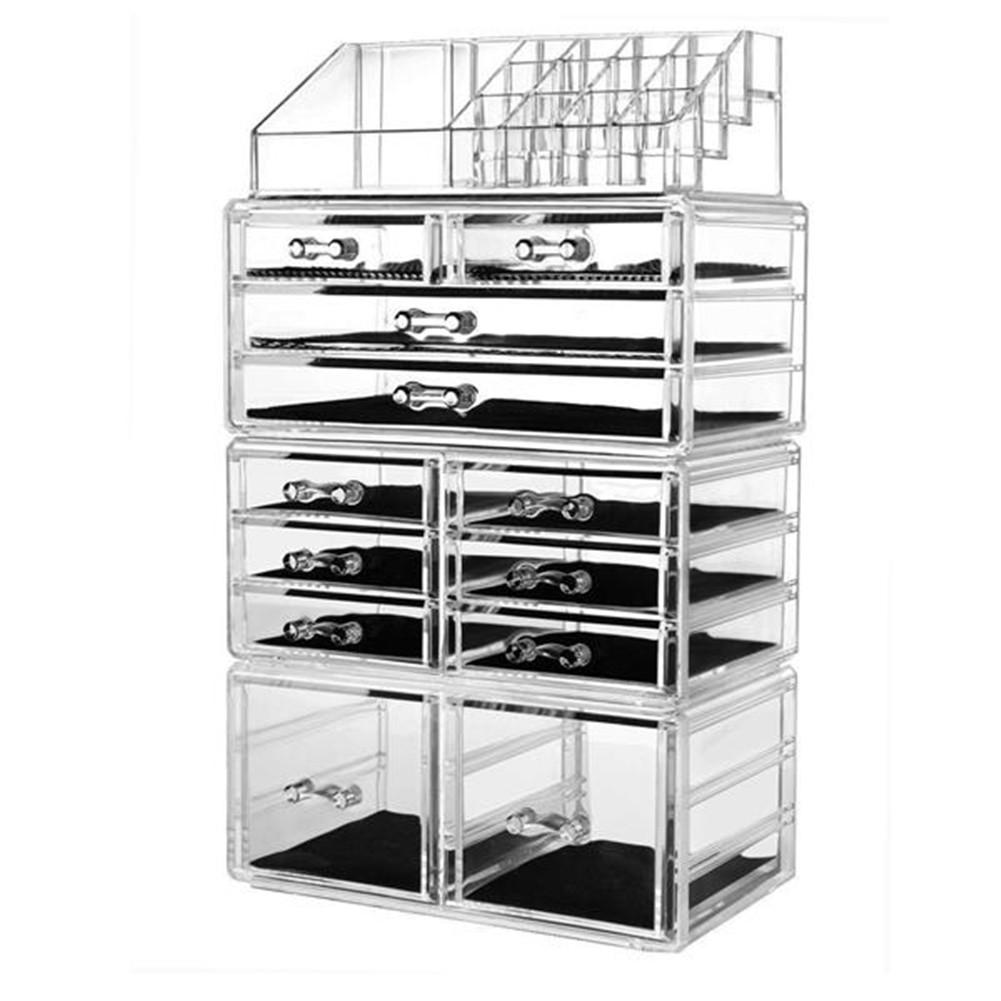 [US Direct] 4Pcs/Set Makeup Organizer Plastic Cosmetic Storage Drawers Transparent Display Box  Transparent color