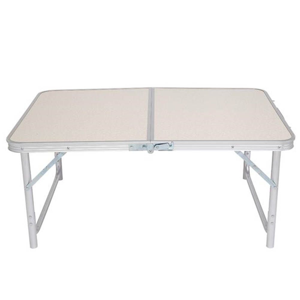 [US Direct] Aluminum Alloy Folding Table in Home Use White Foldable Table 90 x 60 x 70cm white