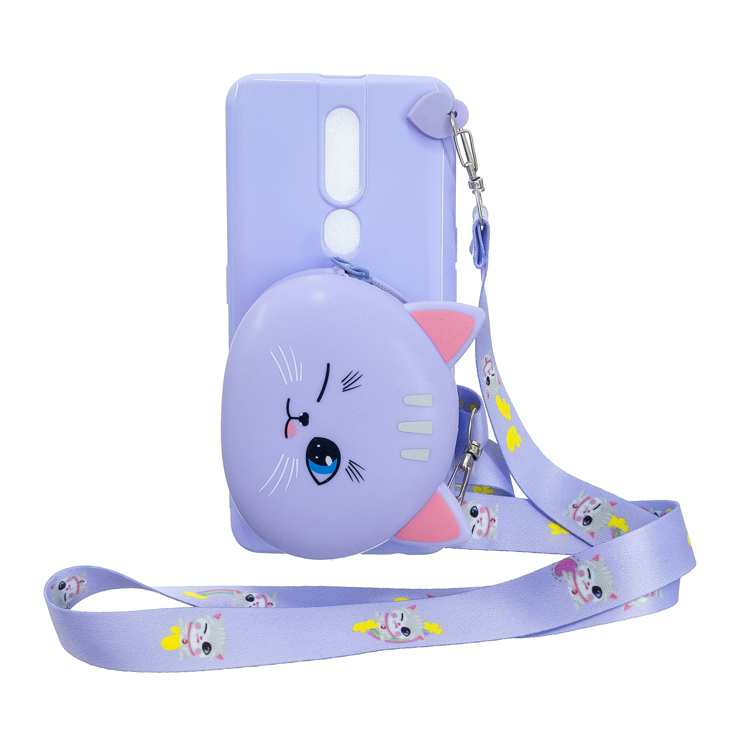 For OPPO F11/F11 Pro Cellphone Case Mobile Phone TPU Shell Shockproof Cover with Cartoon Cat Pig Panda Coin Purse Lovely Shoulder Starp  Purple