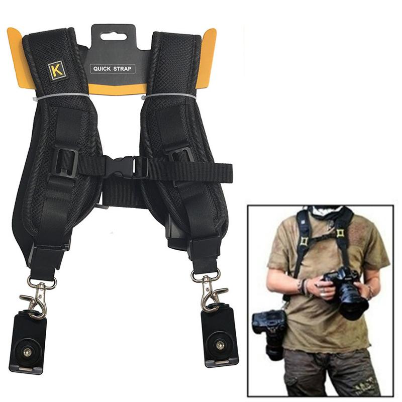Dual Shoulder Camera Neck Strap Belt Quick Release for Digital SLR DSLR Camera  black