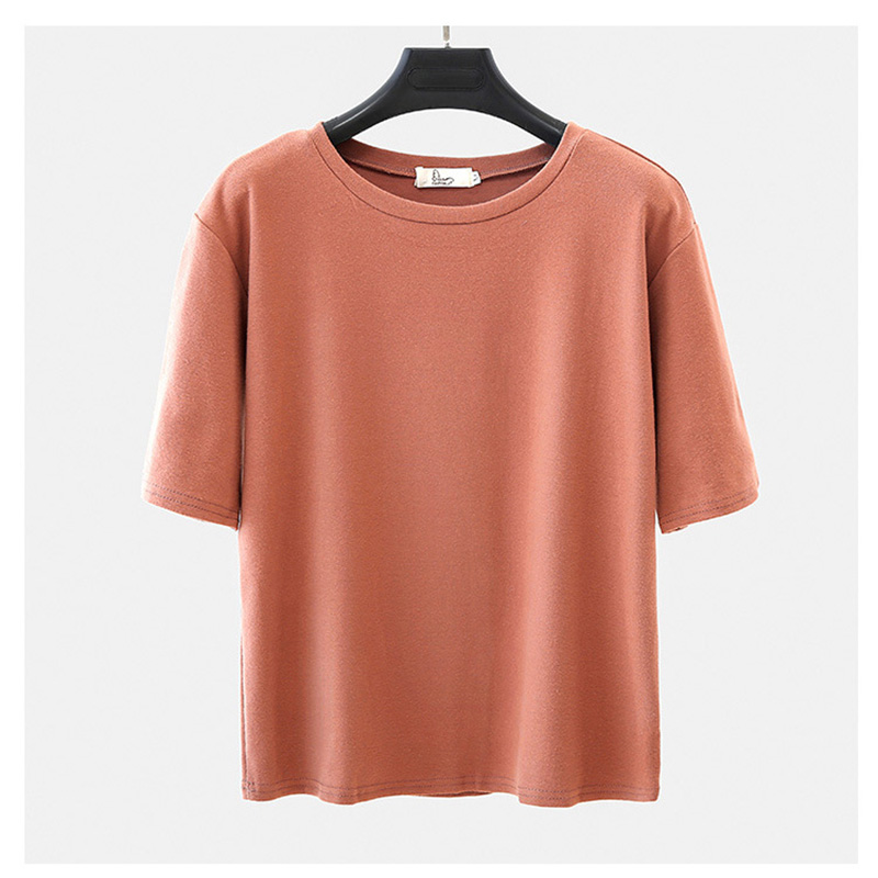 Women Simple Solid Color Round Neck Short-sleeves Loose T-shirt