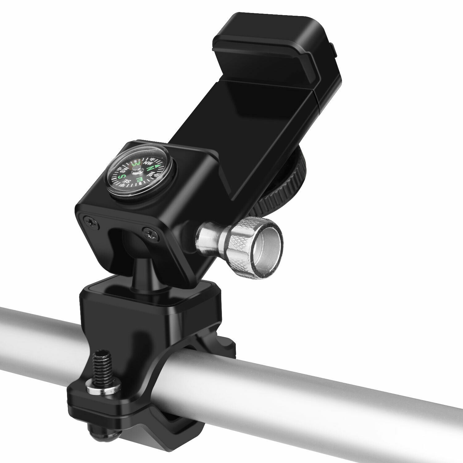 Bike Motorcycle MTB Handlebar Mount Cell Phone Holder GPS with LED Light Compass black