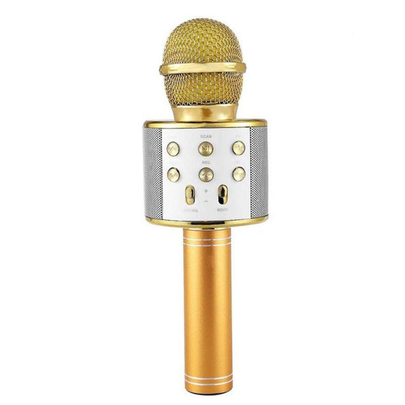 Bluetooth Wireless Microphone Handheld Karaoke Mic USB KTV Player Bluetooth Speaker Record Music Microphones  Gold